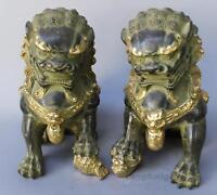A Pair fengshui Old Carve Gilt Foo Fu Dog Door Lion Ball Guardian Bronze Statue