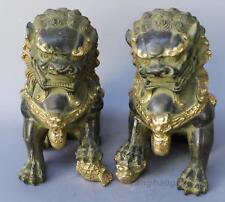 Pair Old Handwork Carve Gilt Foo Fu Dog Door Lion Ball Guardian Bronze Statue