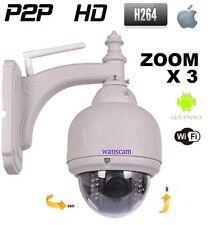 Caméra Dôme IP Réseau Wifi PTZ Zoom OPTIQUE X3 HD 720P Infrarouge EXTERIEUR IR