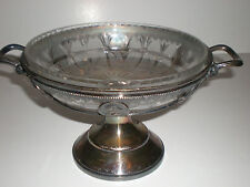 Reed & Barton Silver Plated Compote Ca. 1895 Open Sides & Cut Crystal Liner Bowl