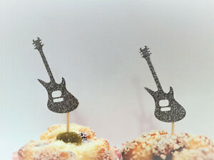 Electric Guitar Cupcake Toppers,Music Party Decorations,Rock Star,Rock n Roll