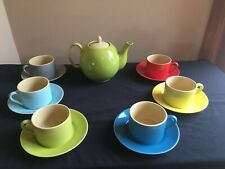 13-Pc Siena Stoneware Tea Set; Multi-Color (Teapot/Cups/Saucers); Yedi Houseware