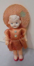 "Celluloid Doll, Pink Dress, Straw Hat & Flower, Cute, Japan, 3.5"" Tall Vintage"