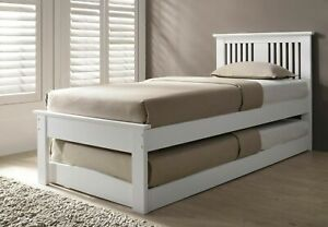 3FT WHITE WOOD GUEST BED TRUNDLE, UNDERBED WOODEN OVERNIGHTER
