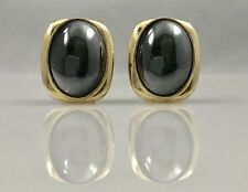 Classic Silvery Hematite Oval 18kt Yellow Gold Over Sterling Omega Earrings,New