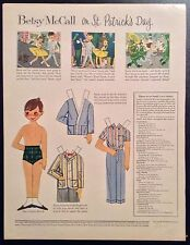 Vintage Betsy McCall Mag. Paper Dolls, Betsy on St. Patrick Day, March 1958