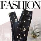 Woman Fashion Stretchy Arrow Printed Slim Long Trousers Pants Leggings