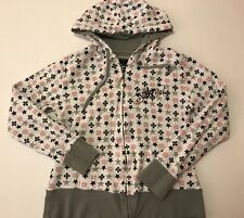 SoCal No Fear Hoodie Hooded Sweatshirt White/Gray/Pink Black Logos Sz XL GUC HTF