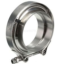 "3"" Inch Stainless Steel V-Band Clamp with 2 Flange Kit Turbo Exhaust Down Pipe"