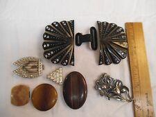 Lot-Vintage 2 Piece Buckle PARTS-Rhinestone,Celluloid,Pot Metal,Art Nouveau,Deco