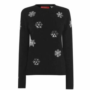 STAR Sequin Snowflake Black Jumper Women's Christmas Knitted OTH UK Size 12 BNWT