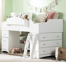 South S Imagine Collection Twin Loft Bed With Storage In Pure White New