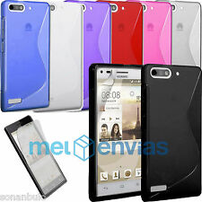 Funda + 2 PROTECTORES para HUAWEI ASCEND G6 / ORANGE GOVA GEL TPU S-LINE Colores