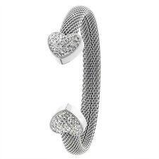 Stainless Steel Mesh Cuff Bangle Bracelet for Women w/ CZ Stones Heart Ends