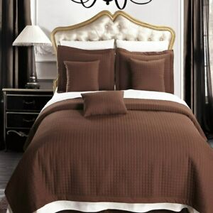 4-6 Piece Luxury Checkered Quilted Coverlet Set Oversized Bedspread Set