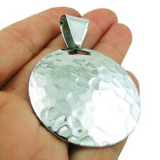 Contrastados sólido de plata esterlina 925 Colgante de Disco de círculo martillado