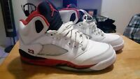 Nike Air Jordan 5 Retro Fire Red Size 5.5Y White Black Kids Boys 2 3 4 6 7 11 12