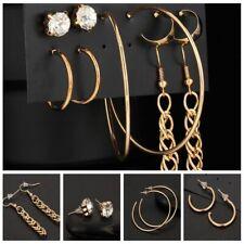 Rhinestone Tassel Ear Stud 5Pairs/set Trendy Jewelry Big Circle Earrings Lady
