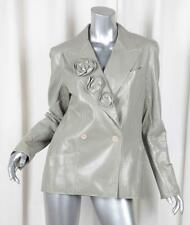 CHANEL 03C Womens Gray Crinkle Patent Leather Belted Trench Coat Jacket 42/10 M