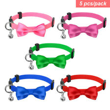5pcs Small Cat Collar with Bell Breakaway Safety Quick Release Kitten Collars