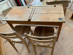 Old Vintage Wooden double  School Desk with 2x matching chairs