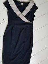 ASOS navy Dress formal work dress navy grey cap sleeve wiggle pencil Size uk 12