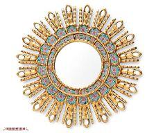 "Peruvian Gold Leaf sunburst Mirrors- Round Wall Mirror 17.7"" - Handmade Mirrors"