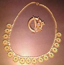 Art Deco Antique Czech Filigree Necklace & Brooch Gold Taupe Cut Glass Floral