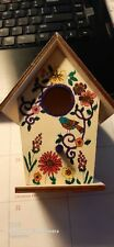 Birdhouse Wood handpainted by me Small sits/can hang deco Purple