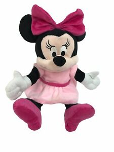 """Disney Baby Minnie Mouse Plush Hand Puppet Full Size 14"""" Soft Toy Pink Bow EUC"""