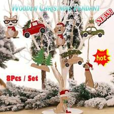 8Pcs Wooden Christmas Tree Decorations Hanging Xmas Ornaments Home Party Decor