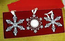 Pottery Barn Box set of 3 - Christmas Tree Jewel Snowflake Ornaments Photo Frame
