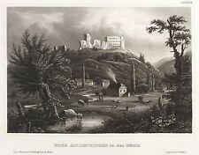 ALTLEININGEN - TEILANSICHT MIT BURG - Meyer's Universum - Stahlstich 1854