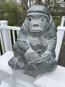 LARGE Inuit Soapstone Carving Eskimo Hugging Seal EXC 23 LBS 5 OZ Signed?