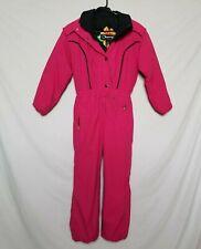 Obermeyer Juniors Sz 12 Girls Boogaloo Snow Ski Suit Solid Pink One Piece Hood