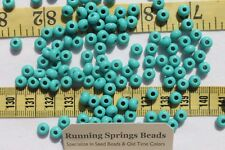 1/0 Seed Beads Glass Opaque Turquoise Green Crafts Jewelry Making 6 x 5mm /1oz
