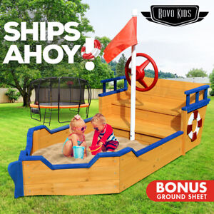 【EXTRA15%OFF】Kids Boat Sandpit Wooden Outdoor Play Sand Pit Children Toy Box