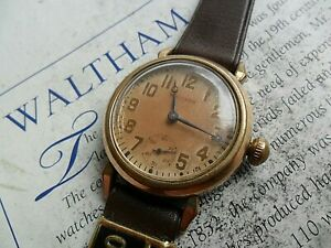 Clean Vintage 1930's Men's Waltham Mechanical Watch Running