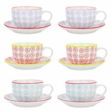 Cappuccino Cups and Saucers Set Coffee Tea Porcelain 250ml - 3 Designs - x12
