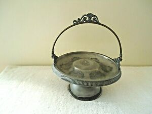 "Vintage Silver Plate ?  Standing Serving / Relish Tray With Handle "" GREAT ITEM"