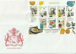 GUYANA 26 DEC 2001 HISTORY OF THE WORLD CUP S/SHEET O/S FIRST DAY COVER