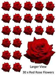 30x Red Roses Flowers Cupcake Toppers Edible Wafer Paper Fairy Cake Toppers