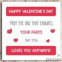 Funny Fart Valentines Day Card for Husband Wife Boyfriend Girlfriend Valentine's