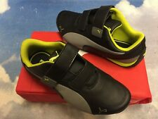 Puma Drift Cat Junior Black Gray Leather Hook & Loop Sneakers Youth Size 3.5