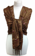 Châles/écharpe marron à motif Floral pour femme
