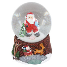 Gisela Graham Santa in Dungarees Musical Christmas Snow Dome Decoration