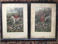 Antique Vintage Print Etching Pair A C Havell Hunting Fox Sporting 1889 London