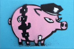 RARE Mau Mau International Pig Hand Painted Mini Canvas Signed Limited Edition