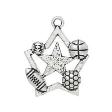 8 Silver Tone ALL STAR Sports Ball Charms Pendants chs1164