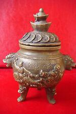 OLD ANTIQUE ORIGINAL Chinese TIBET Marked Ball Incense Burner censer